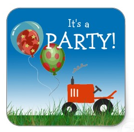 Red tractor party envelope seals