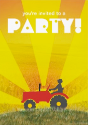 Red or Green Tractor Invitation