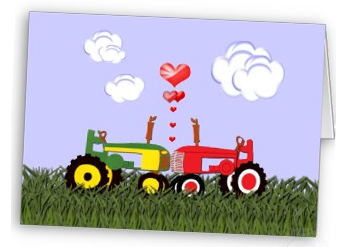Red and green tractor wedding invite