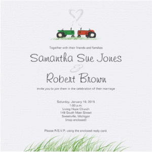 Red and green tractor on tractor wedding invitation
