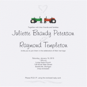 Winter Tractor Wedding Invitation