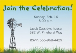 Back of Green Tractor Invitation