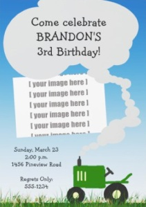 Green tractor party invitation with option to add your own photo