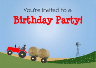 Red Tractor Party Invitation