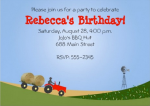 Back of customizable tractor invitation