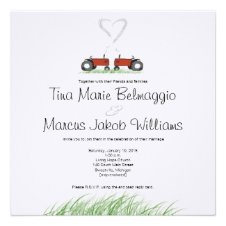 Two red tractors wedding invitation